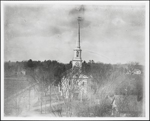 Baptist Church on its original site. Part of the Common before the erection of the Town Hall