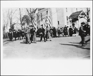 """Color bearers"" WWI Victory Day Parade in Needham Square, corner of Highland Avenue and Great Plain Avenue"
