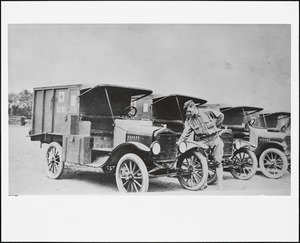 U. S. Army ambulances at WWI Victory Parade in Needham Square