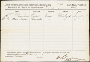 Discharge papers - H.P. Burnham, O. Edward McIntyre