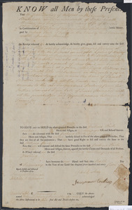 Deed of property in Truro sold to Joshua Rich of Truro by John Darling and Temperance Darling (wife of John) of Wellfleet