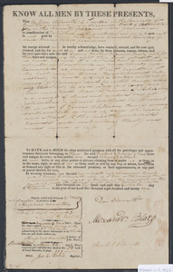 Deed of property in Sandwich sold to Calvin Backus and Lemuel Bursley by Dan Wilmarth and Alexander Black of Sandwich