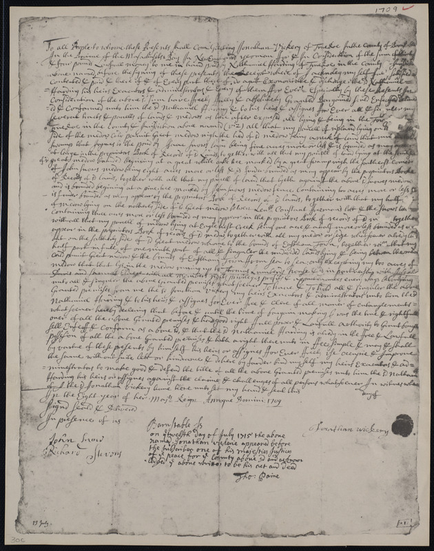 Deed of property in Truro sold to Nathanial Harding of Truro by Jonathan Vickery of Truro