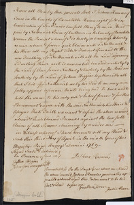 Deed of property in Truro sold to Nathaniel Paine of Eastham by Joshua Knowles of Truro