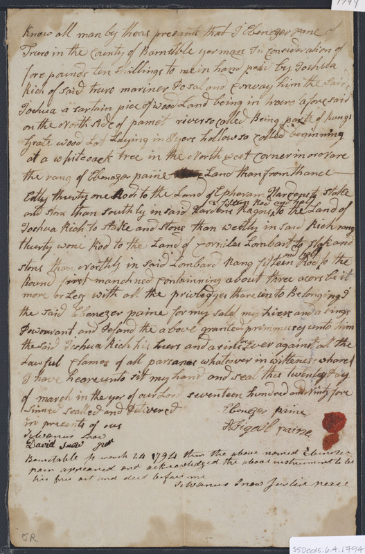 Deed of property in Truro sold to Joshua Rich of Truro by Ebenezer Pane (Paine) of Truro