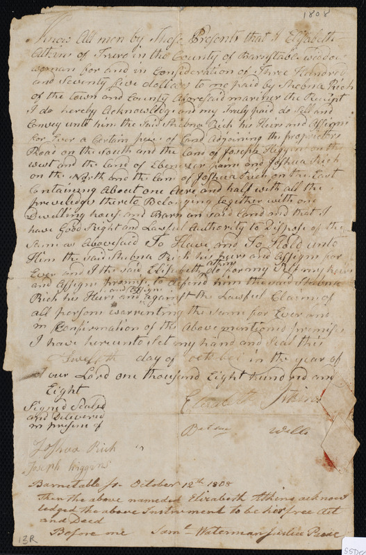 Deed of property in Truro sold to Shebna Rich of Truro by Elizabeth Atkins of Truro