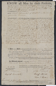 Deed of property in Wellfleet sold to Simon Newcomb of Wellfleet by Jemima Newcomb, Jesse Newcomb, Henry Stevens, and Rebecca Stevens of Truro