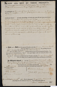 Deed of property in Wellfleet sold to Simon Newcomb Jr. of Wellfleet by Theophilus Newcomb of Truro