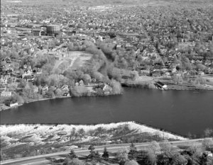 Looking south over Pawtucket Falls and Dam