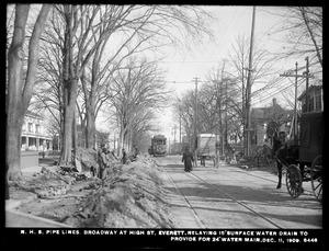 Distribution Department, Northern High Service Pipe Lines, Section 33, Broadway at High Street, relaying 15-inch surface water drain to provide for 24-inch main, Everett, Mass., Dec. 11, 1909