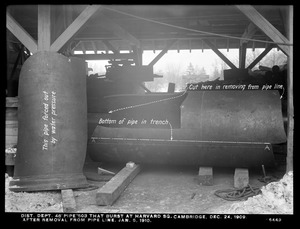 Distribution Department, break, 48-inch pipe No. 503 that burst on December 24, 1909 at Harvard Square, after removal from pipe line, Cambridge, Mass., Jan. 5, 1910