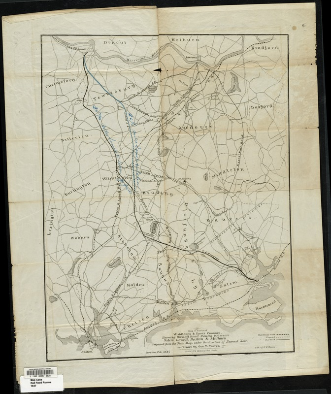 Map of parts of Middlesex & Essex counties showing the rail road routes between Salem, Lowell, Boston & Methuen