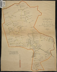 Facsimile of Col. Nichols' plan of the First Parish of Reading, the present towns of Wakefield and Reading, plotted in 1765