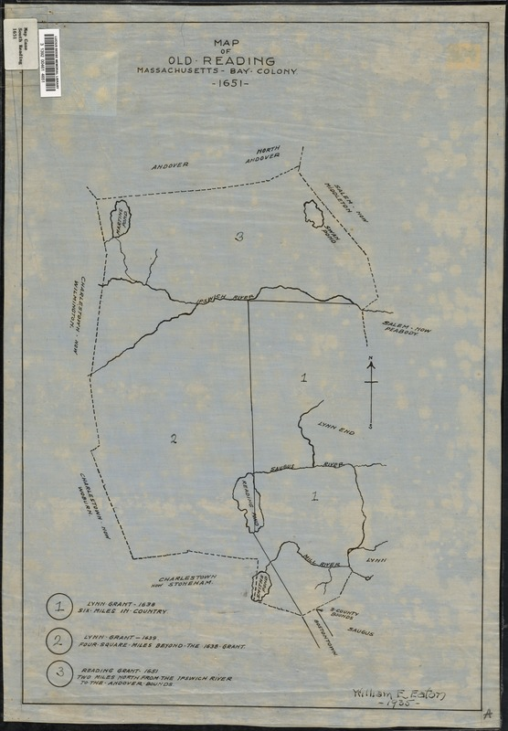 Map of old Reading, Massachusetts Bay Colony, 1651