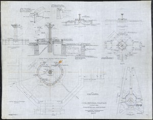 """COOK [AMHERST] MEMORIAL FOUNTAIN, AMHERST, MA - SCALE DETAILS AND LOCATION PLAN: SCALE 3/4"""" + 1/4""""=1'"""