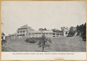Villages of Newton, MA. Oak Hill. Peabody home, southern exposure