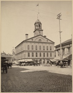 View of buildings in Boston's Faneuil Hall marketplace