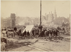 Franklin St. (Old South Meeting House in background, tents and men in foreground)
