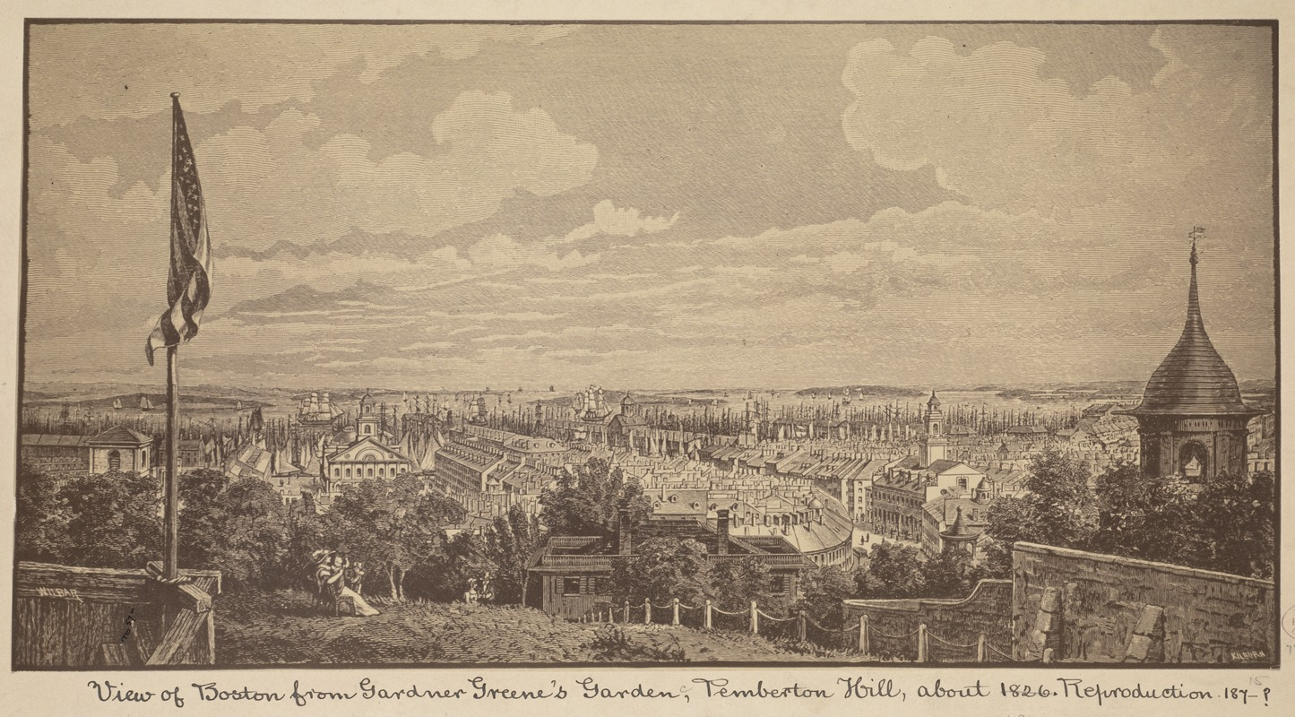 View of Boston from Gardner Greene's garden, Pemberton Hill, about 1826