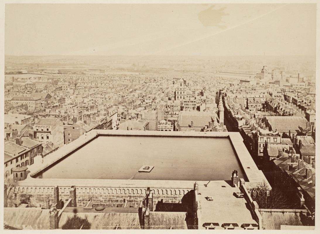 Beacon Hill reservoir, about 1860. This reservoir on Derne Street existed from 1848-1888