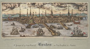 A prospect of ye great town of Boston in New England in America