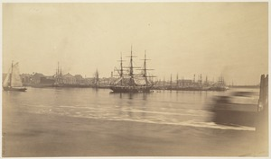 Boston (North End) from the navy yard - 1870. U.S.S. Kearsarge in stream
