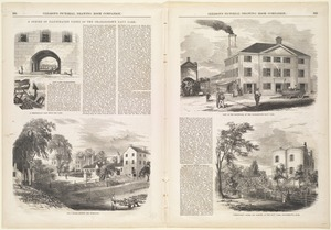 A series of illustrated views of the Charlestown Navy Yard