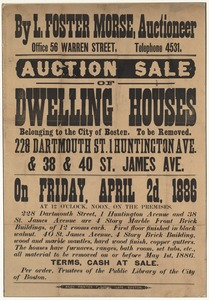 Broadside advertising an auction of soon-to-be-removed dwelling houses belonging to the City of Boston
