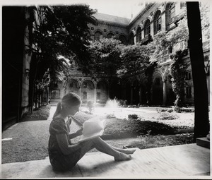 Sarah Rodman in the courtyard of the Boston Public Library