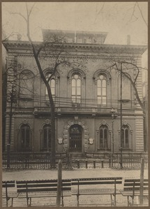 Exterior view of the old Boston Public Library on Boylston Street, built 1858