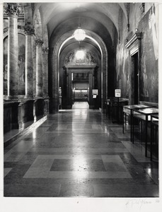 Interior view corridor with Chavannes murals at the Boston Public Library
