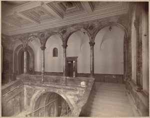 Boston Public Library. Copley Square. Great stairways and upper hallway before installation of Puvis de Chavannes murals