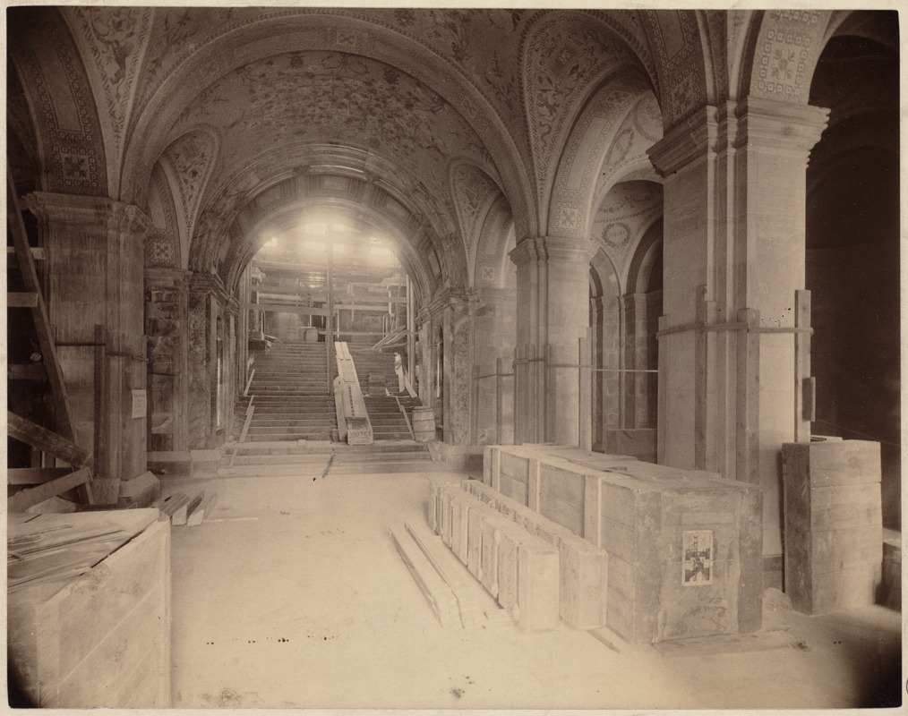 Boston Public Library. Copley Square. Construction: Entrance Hall And  Stairway