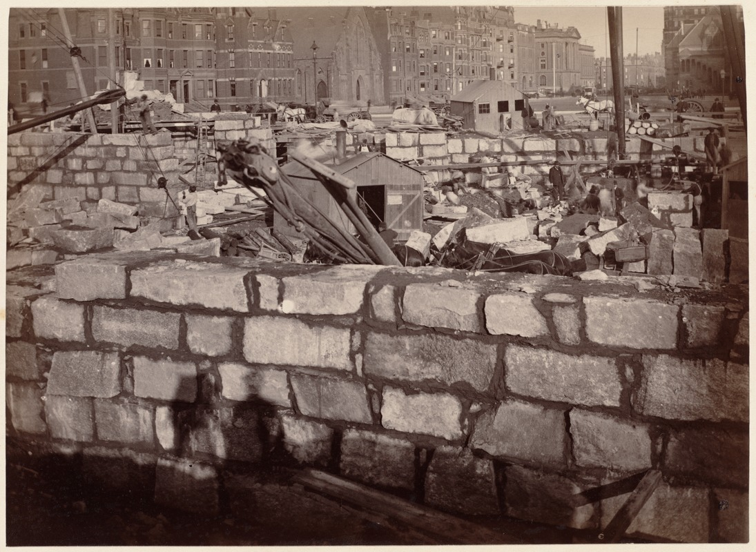 Boston Public Library, Copley Sq. Foundations from court