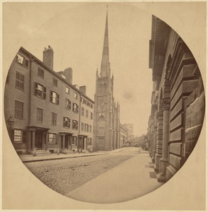 East side of Chauncey Place, 1860. From Mechanics Building. Showing Rowe St. Baptist Church