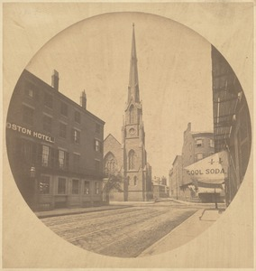 Branch St. Church and Boston Hotel, 1860. Corner Harrison Ave. and Beech St.