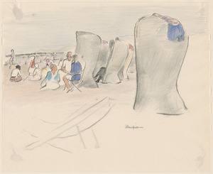 Group on beach with shelters. Sketch of chair in foreground