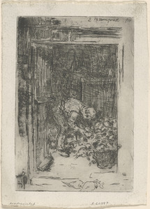 Title unrecorded (interior of a barn with a man sorting mangolds)