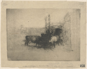 Title unrecorded (three cows and two men near a barn door)