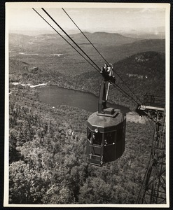 Aerial Tramway, Cannon Mt. N.H. Echo Lake in background