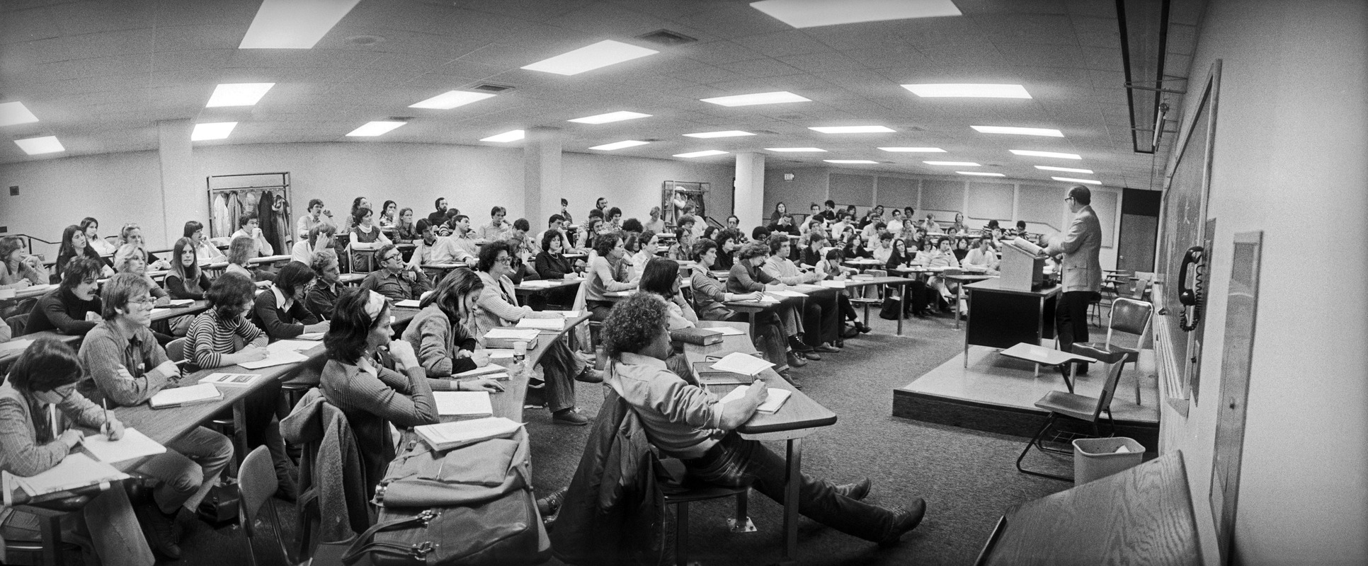Large lecture class at Suffolk University, Beacon Hill, Boston