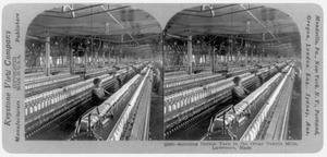 Spinning cotton yarn in the great textile mills, Lawrence, Mass.