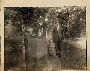 William Day and Wilfred Bennett by Glendale Cemetery's Memorial Boulder