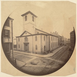 Brattle St. Church. Erected 1772. Razed 1872. A British cannonball in wall near door