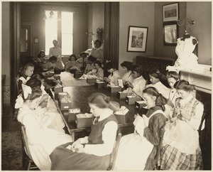 Boston Trade School for Girls - making underclothing