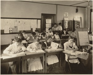 Boston Trade School for Girls - young girls drawing (sale of Christmas gifts)