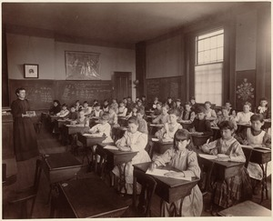 Fourth class (6th year in school) representing class work in penmanship. Hancock School. June, 1892
