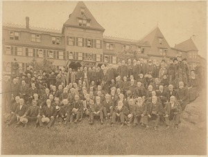 Old Boston schoolboys - a group of them on the lawn of a hotel (?). Edwin Josiah Fairbanks among them