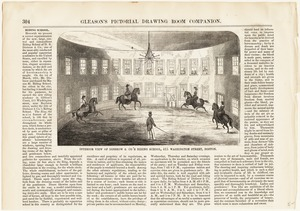 Interior view of Disbrow & Co's Riding School, 415 Washington Street, Boston