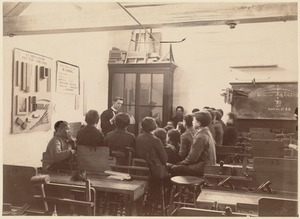 North Benneth [sic] Street School - interior, shop class (teacher at side of classroom)